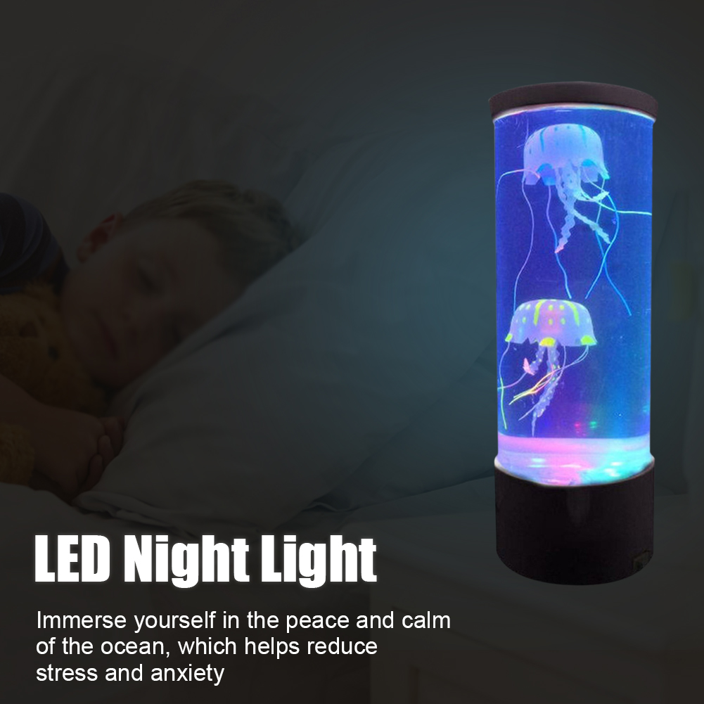Bedside Mood Night Lamp Jellyfish Volcano Water Aquarium Tank LED Relaxing Jellyfish Hypnotic Lamp Aquarium LED Night Light