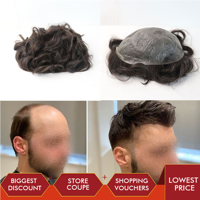 Durable Thin Skin V-Loop 8x10 Inch Replacement Hairpieces Toupee For Men Human Hair Toupee Rosa Queen