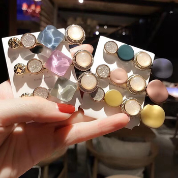 3PCS/Set Korean Acrylic Hair Clips For Women Hair Accessories Fashion Jewelry Simulated Pearl Hairpins Geometric Gold Barrettes 4