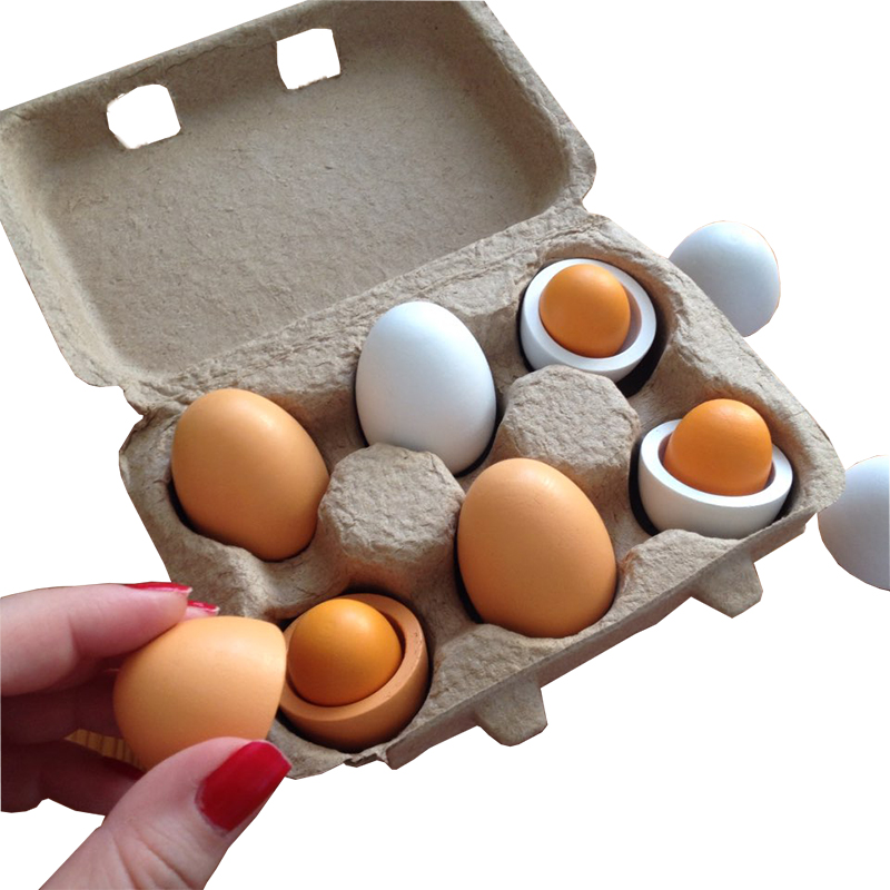 6pcs Simulation Wooden Eggs Toys Set Kids Pretend Play Wood Food Eggs Yolk Kitchen Food Children Kid Education Montessori Toys