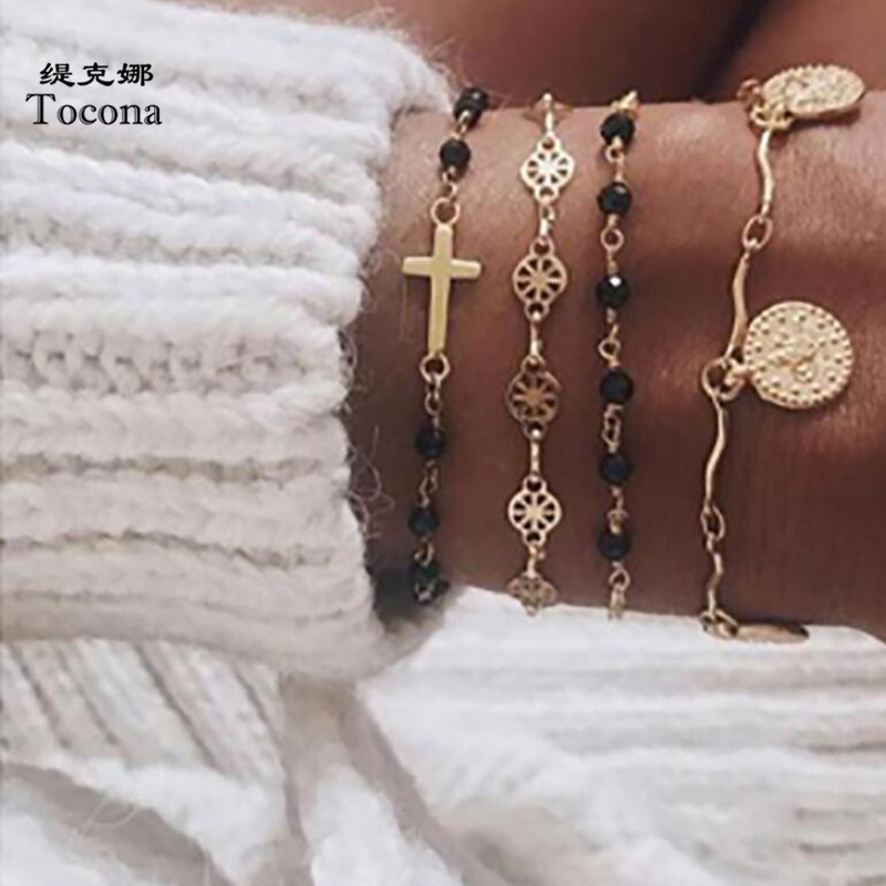 Tocona Fashion 4pcs/sets Colorful Beaded Bracelets Charms Cross Hollow Geomerty Chain Pendant Women Accessories 8370