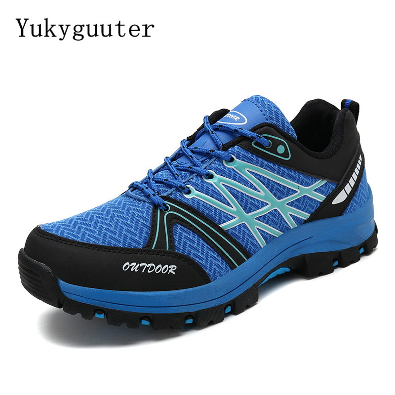 Men Hiking Shoes Outdoor Trekking Sports Climbing Boots Summer Breathable Mesh Non-slip Walking Trainers Camping Comfortable
