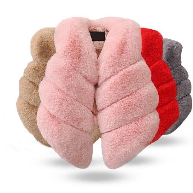 Crianças meninas colete de pele do falso outono & inverno moda grosso quente colorido colete crianças outerwear bebê menina roupas de natal