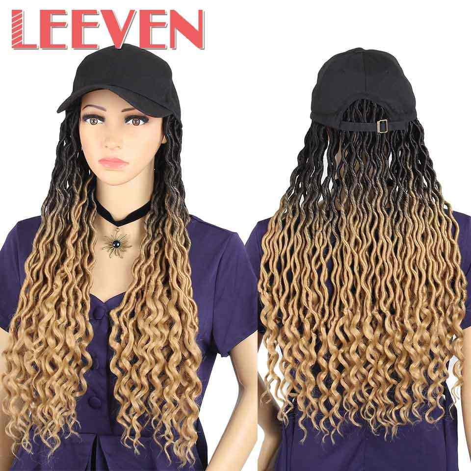 Leeven 22inch Dreadlock Hair Wigs Synthetic Black Hat Attached Cap With Baseball Hat With Curl at The End Goddess Locs Wig