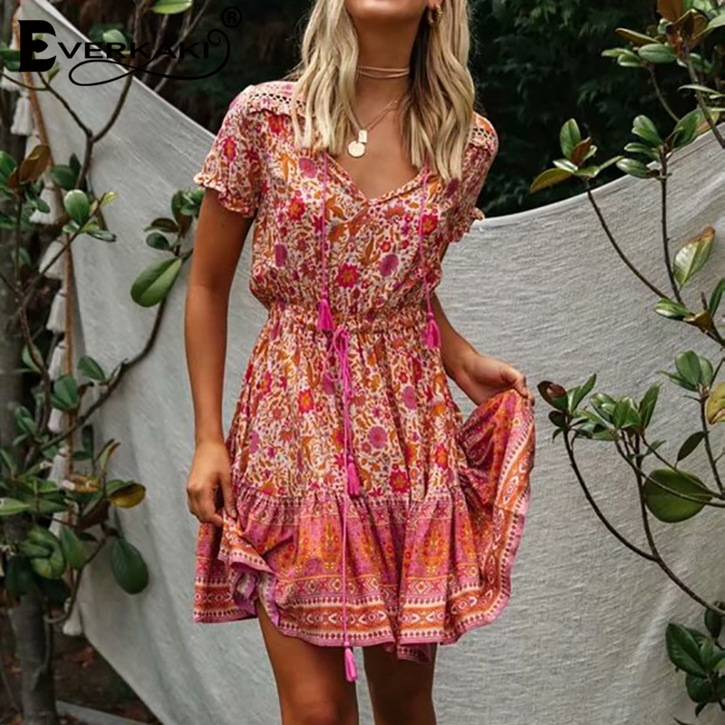 Everkaki Boho Floral Print Short Dress Women Tassels Summer Vestidos Ladies Vintage Mini Dresses Female 2020 Spring New Fashion