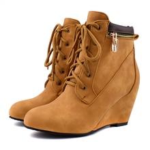 YANSHENGXIN Shoes Woman Boots Suede Zipper Ankle Boots Wedge Women Shoes Autumn Winter Boots Large Size Lace-Up Ladies Booties недорого