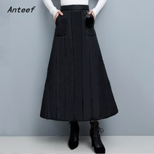 black Down cotton plus size vintage 2020 high waist clothes autumn winter casual loose long