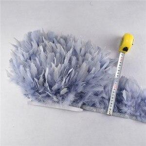 Image 3 - Volante de flecos de plumas de pavo, plumas marabú de 4 6 pulgadas, recorte de falda, adornos de vestido, plumas de cinta para manualidades, 10 metros/lote, venta al por mayor