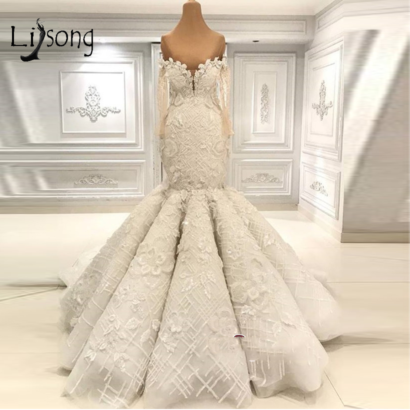 Dubai Luxury Lace Floral Mermaid Wedding Dresses 2019 Full Sleeves Off The Shoulder Elegant Bridal Gowns Mariage