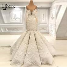 Dubai Luxury Lace Floral Mermaid Wedding Dresses 2019 Full Sleeves Off The Shoulder Elegant Bridal Gowns Mariage