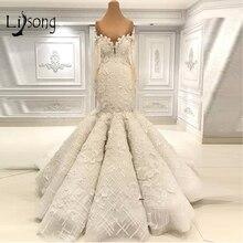 ดูไบ Luxury Lace Floral ชุดเดรสเมอร์เมด 2019 แขนยาวปิดไหล่ Elegant ชุดเจ้าสาว Mariage