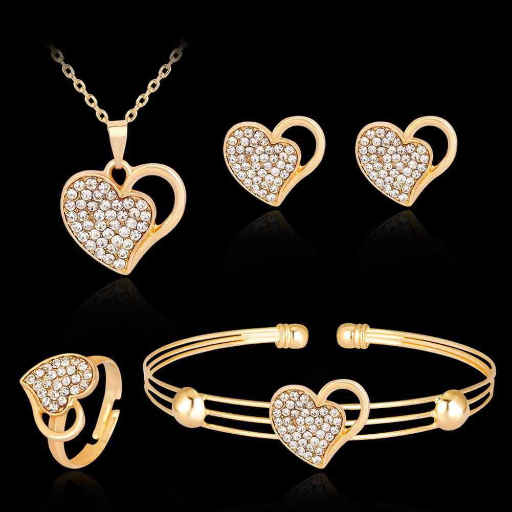 Rhinestone Hollow Love Heart Necklace Bangle Ring Earrings Banquet Jewelry Set New Chic