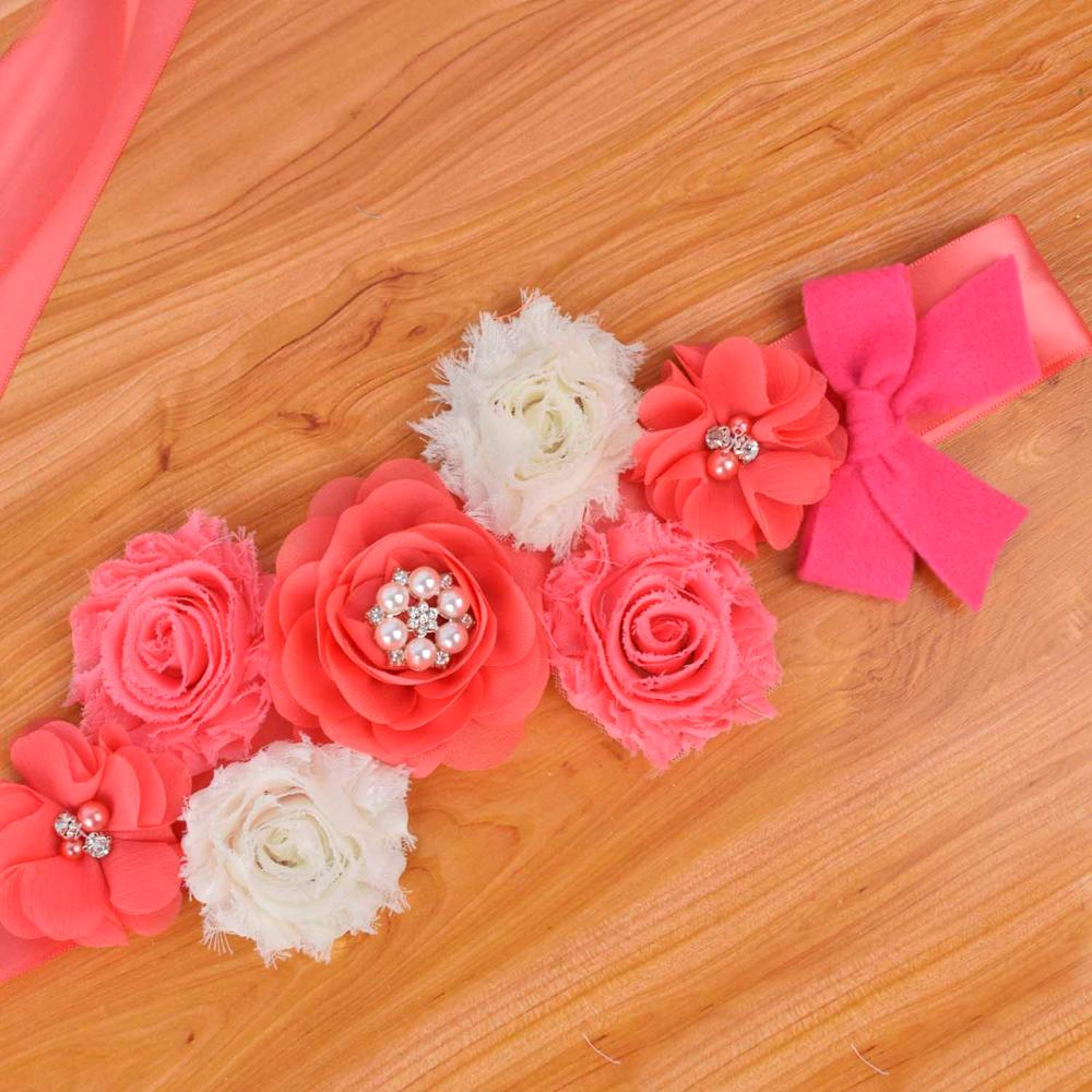 Coral Flower Maternity Sash Pregnancy Belly Belt Baby Shower Party Accessories Photo Props Wedding Fancy Waistband Woman Sash