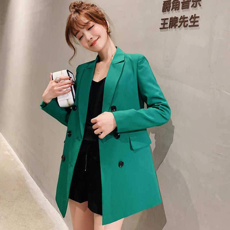 2019 Wanita Blazer Merah Muda Lengan Panjang Blazers Solid Cardigan Slim Kantor Wanita Jaket Wanita Atasan Blazer Femme jaket