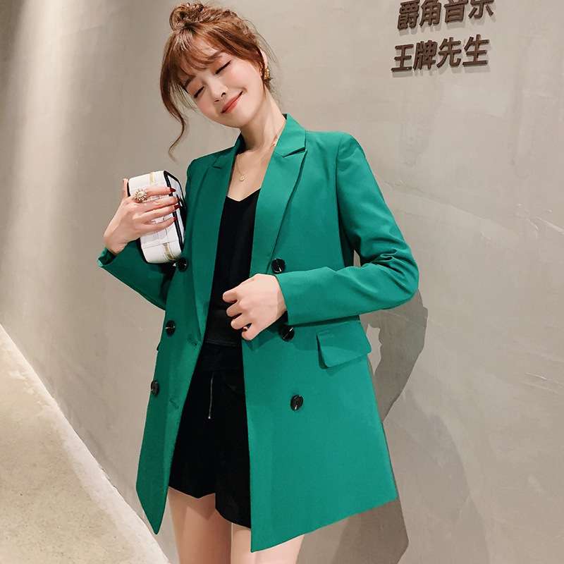 Samgpilee Ladies Blazer Long Sleeve Blaser Women Suit Jacket Female Feminine Blazer Femme Pink Blue White Black Blazer Autumn