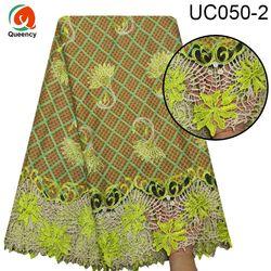 UC050 5 jardów ankara z koronką Afrcian wydruk woskowy tkanina odzieżowa gorący bubel projekt koronki dno z haftowana z kamieniami wosk