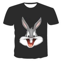 2021 Summer Print Cartoon Rabbit Cute Shirt Men's And Women's Round Neck Short Sleeve 8 Color White Black Kawaii Shirt Women's o