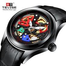 цена TEVISE Men Mechanical Watch Automatic Hollow Colorful Watches Fashion Man Waterproof Sport Clock Relogio Masculino онлайн в 2017 году