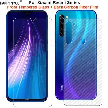 Перейти на Алиэкспресс и купить Для Xiaomi Redmi Note 8 8T 8A 7 7s 7A K30 K20 Pro Poco X2 1 набор = мягкая задняя пленка из углеродного волокна + закаленное стекло для защиты экрана