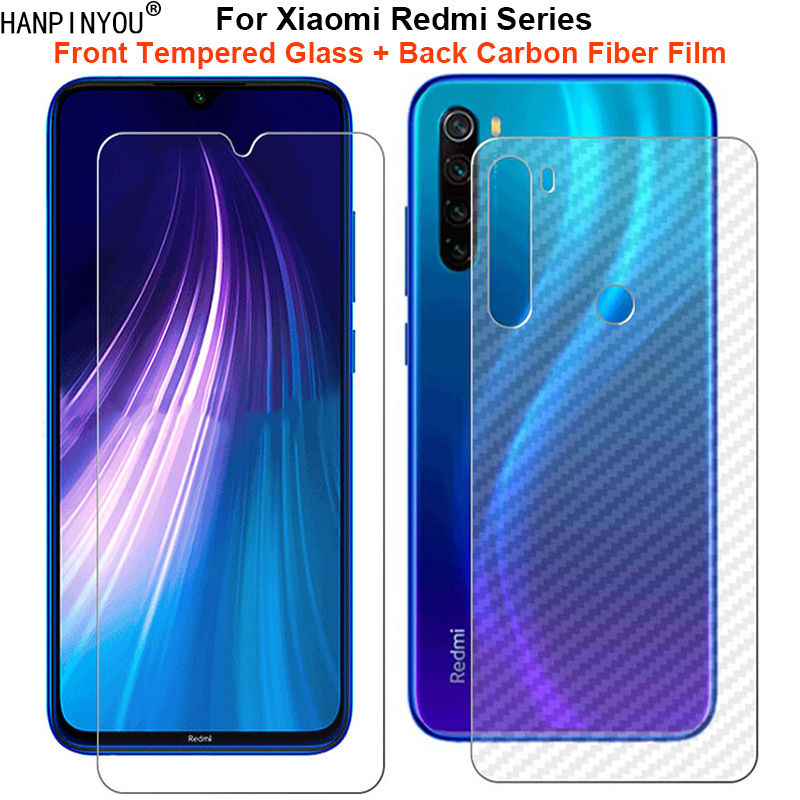 For Xiaomi Redmi Note 8 8T 8A 7 7s 7A K30 K20 Pro Poco X2 1 Set = Soft Back Carbon Fiber Film + Tempered Glass Screen Protector