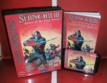 Shinobi 3 devoluciones de Ninja masté, cubierta para USA con caja y Manual para Sega Megadrive Genesis, consola de videojuegos, tarjeta MD de 16 bits