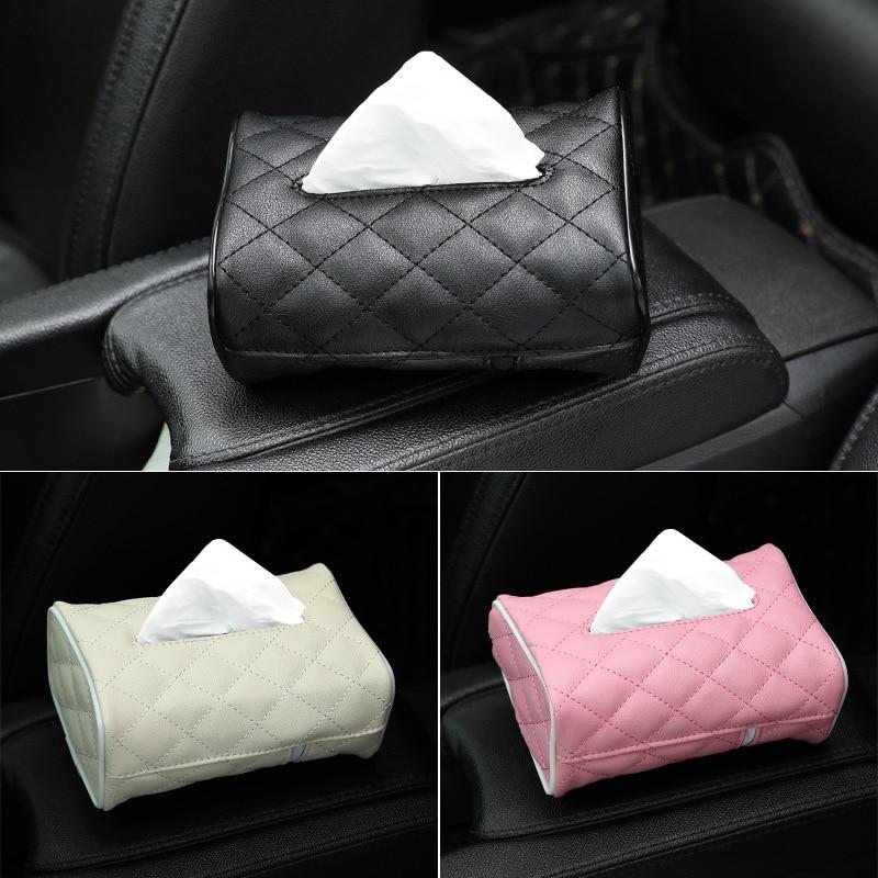 Car Tissue Box Car Mounted Tissue Dispenser Car Drawing Paper Bag Creative Multi-functional Leather Sun Shade Chair Cross Border