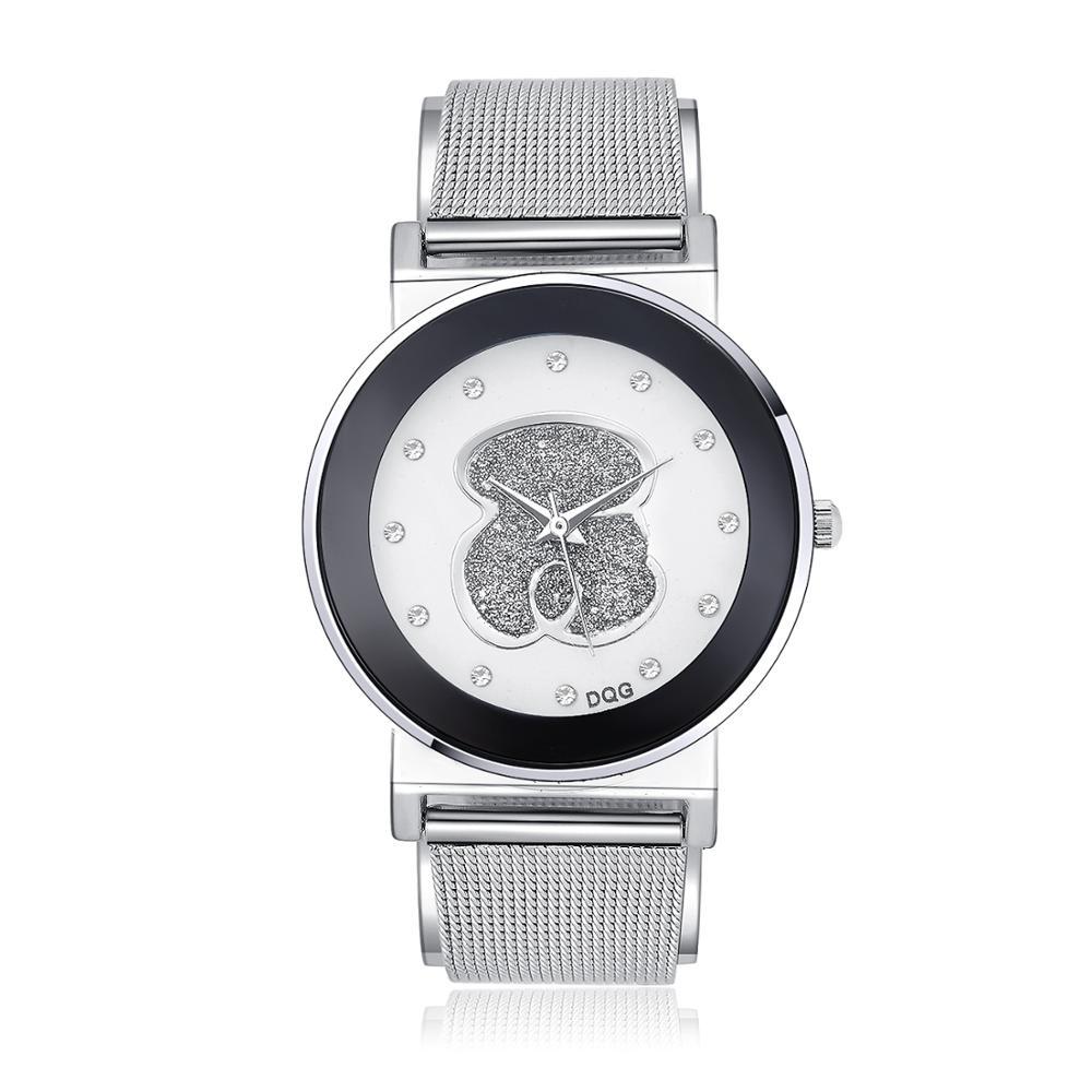 Relogios Femininos 2019 New Luxury Brand Bear Fashion Diamond Quartz Watches Chasy Women Stainless Steel Dress Watch Reloj Mujer