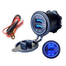 Cargador USB Dual QC3.0 con interruptor de apagado táctil LED para coche, motocicleta, adaptador de teléfono móvil para cargar teléfono móvil, GPS