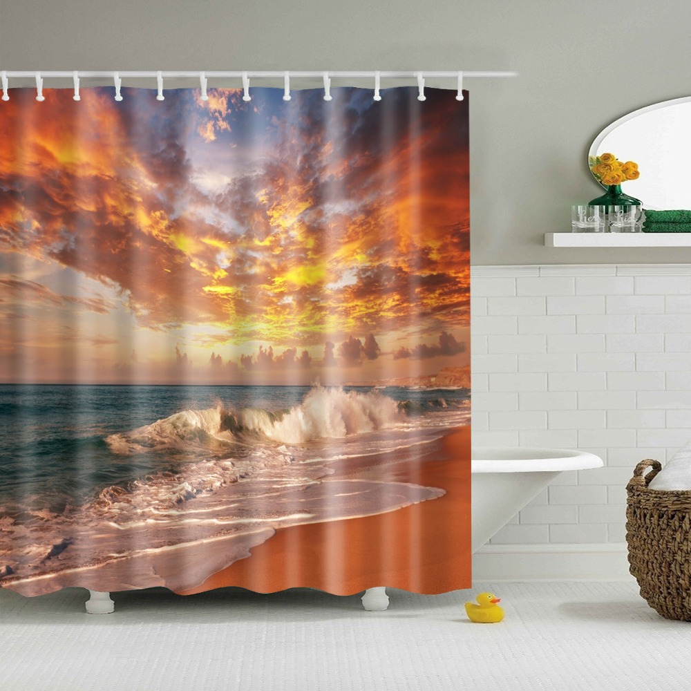 Decorative Beautiful Scenic Water Mountain Shower Curtains Bathroom Curtain Frabic Waterproof Polyester With Hooks Shower Curtains  - AliExpress