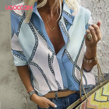 UGOCCAM Women Blouse Long Sleeve Shirt Print Office Turn-down Collar Blouse Elegant Work Plus Size Tops Fashion Women Tops 2