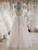 2020 Lace Appliques Beaded Wedding Dresses for Bride V Neck Spaghetti Straps Backless Bridal Gowns vestido de noiva