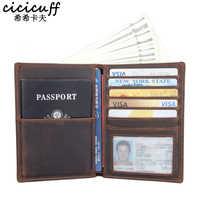 Passport Abdeckung Aus Echtem Leder Multi-funktion Zertifikat Tasche Reise Brieftasche Unisex Karten Geldbörse Ticket Halter Crazy Horse Leder
