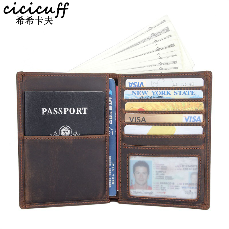 Passport Cover Genuine Leather Multi-function Certificate Bag Travel Wallet Unisex Cards Purse Ticket Holder Crazy Horse Leather