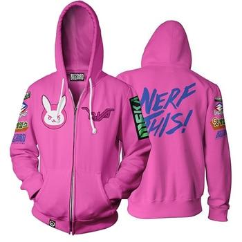 Anime Game Hoodie Sweatshirt 3D Printing Overwatches DVA DJ Cosplay Costume Women Men Couple Hooded Jacket Top Clothing 2020 digital printing 3d printing explosion models long sleeved men and women hooded couple hoodie