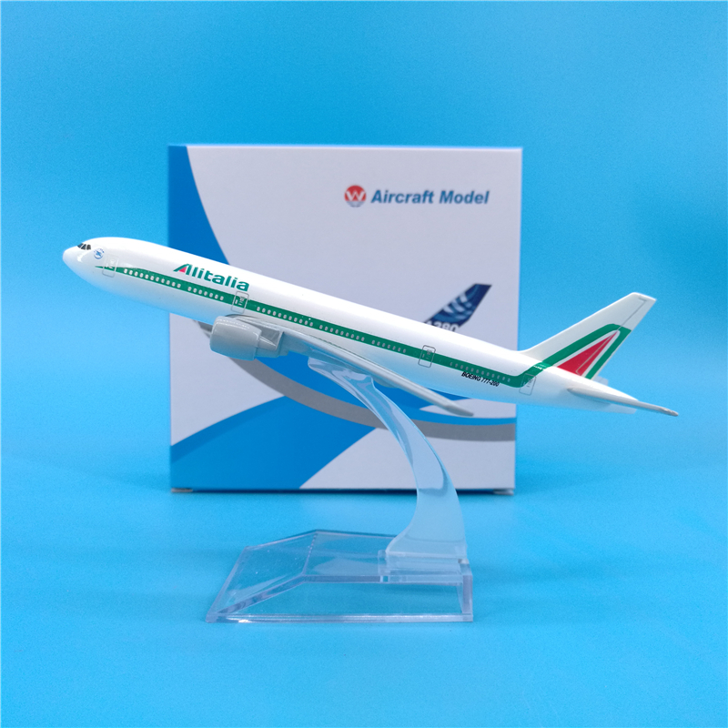16CM 1:400 Scale Air Alitalia Boeing B777-200 Airplane Plane Model Diecast Aircraft Toys Gifts Airliner Model Kids Gift