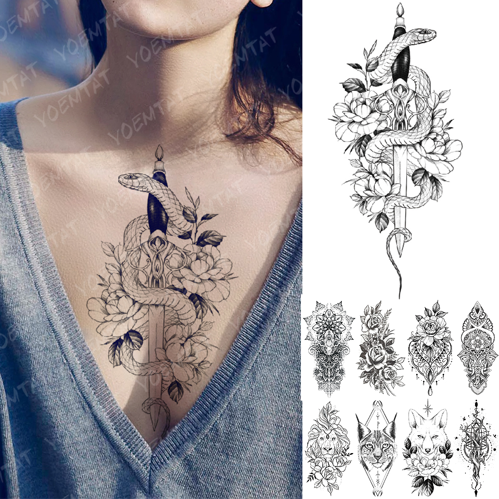 Waterproof Temporary Tattoo Sticker Snake Flower Rose Flash Tattoos Lace Fox Lion Tree Body Art Arm Fake Sleeve Tattoo Women