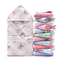 Saco de dormir de 6 capas para bebé, manta envolvente para recién nacido, 100% de algodón, 90cm