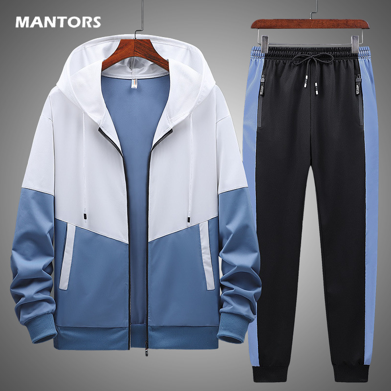 Мужской спортивный костюм из двух предметов, толстовка с капюшоном и брюки, модная толстовка, спортивный костюм, Мужская одежда, весна-осень...