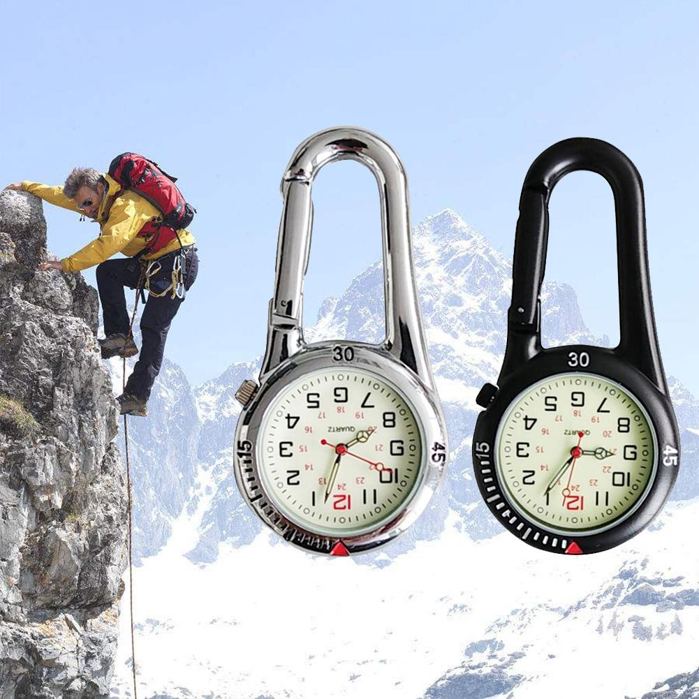 2019 New Arrival Pocket Watch Outdoor Mini Round Dial Arabic Numbers Quartz Analog Clip Carabiner Hook Watch Pocket Watch/clocks