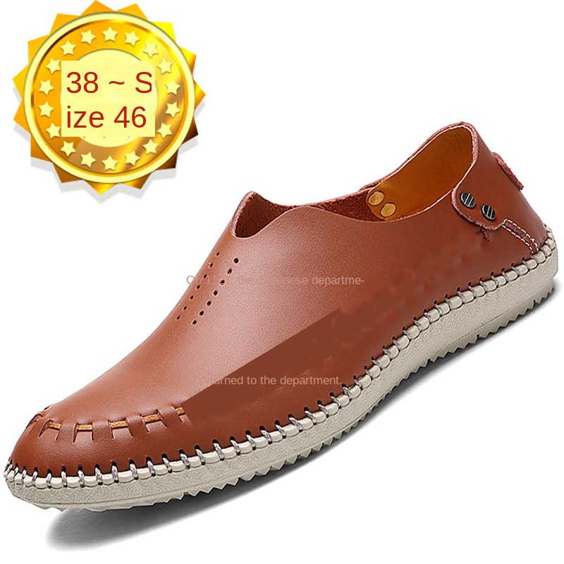 Large Size Men Loafers Casual Shoes Leather Shoes British Style Handmade Shoes Men