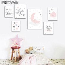Pink Moon Elephant Cartoon Child Poster Nursery Quotes Art Canvas Print Wall Painting Nordic Kid Baby Girl Room Decor Picture astronaut spaceship canvas poster nursery quotes wall art print cartoon painting nordic kids decoration pictures baby room decor