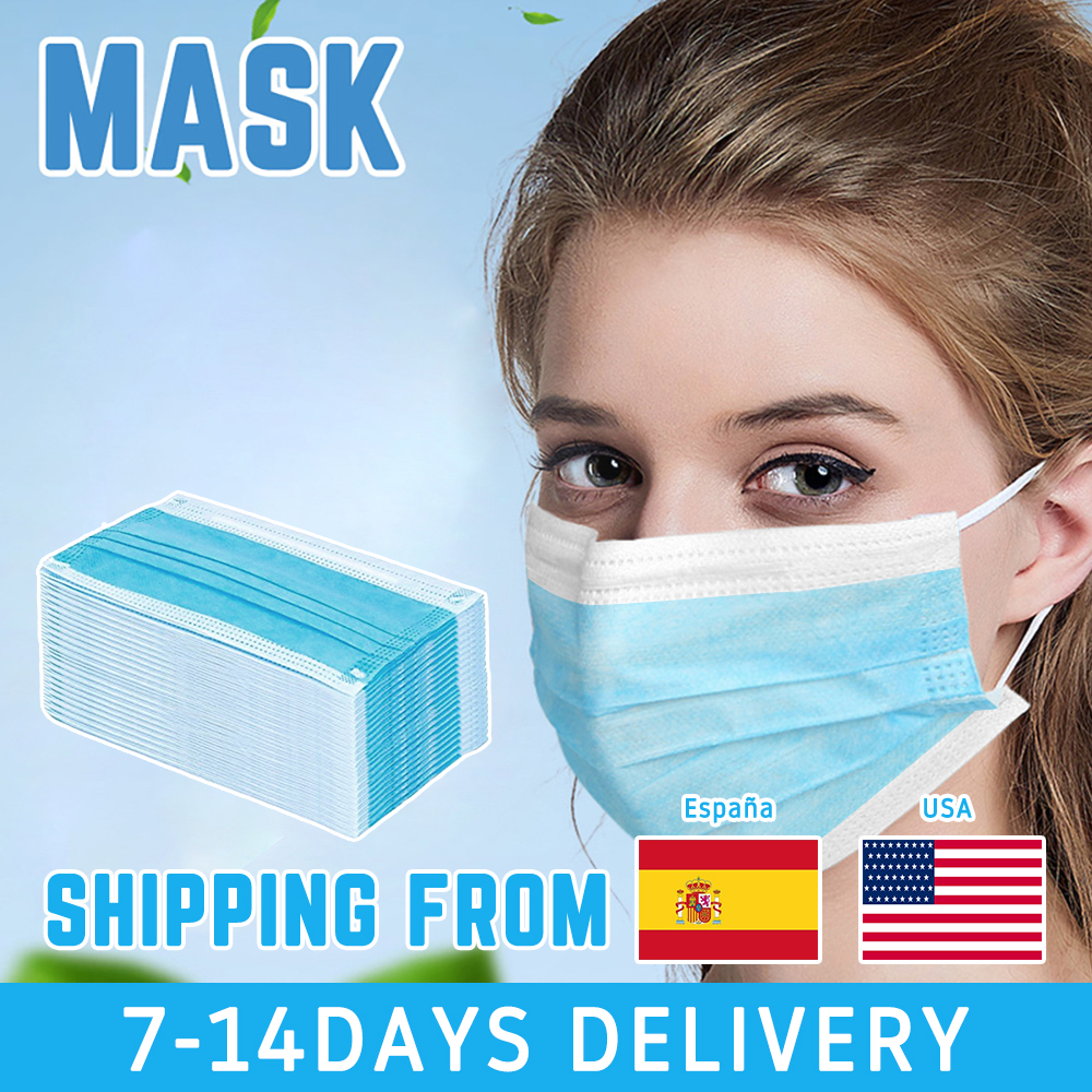50pcs/set 3Ply Disposable Masks Non Woven Dental Anti-Dust Personal Health Care Face Mouth Earloops Masks
