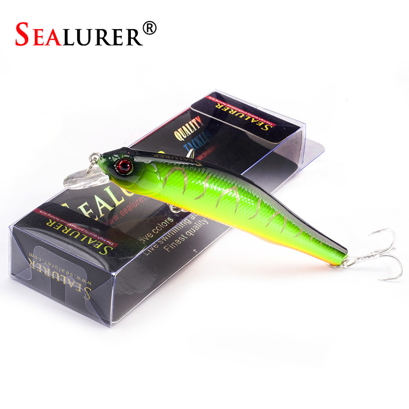 SEALURER Boxed  Fishing Lures  Minnow   High Quality Tackle  90mm  8.5g  Wobblers Crankbait  With 6#  Hooks 3D Eyes