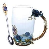 Новая эмалированная кофейная чайная чашка кружка 3D Роза бабочка стеклянные чашки свадебный подарок VA88