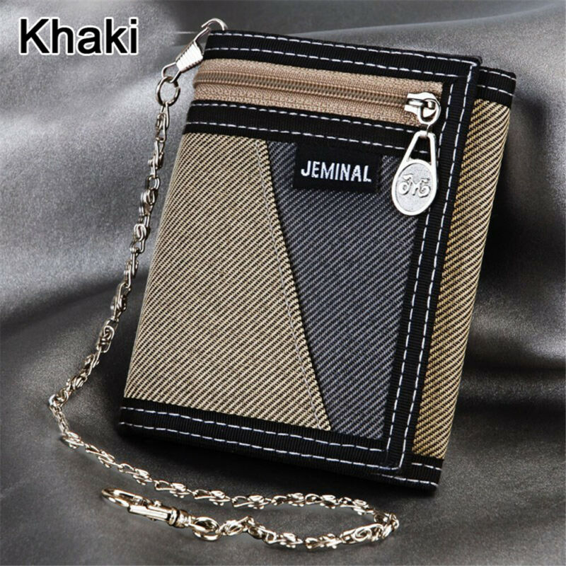 New Mens Boys Guys Canvas JEMINAL Canvas Trifold Sports Money Cash Wallet Holder
