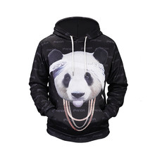 Men/Women 3D Sweatshirts Print Cool Panda In Headscarf and Necklace Hoodies Autumn Winter Thin Hooded Pullovers Tops(China)