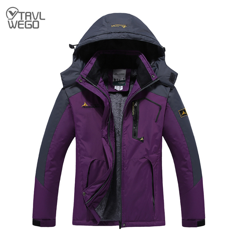 TRVLWEGO Ski Jacket Trekking Women Men Waterproof Fleece Snow Thermal Coat For Outdoor Hiking Mountain Skiing Snowboard Jacket