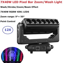 7X40W LED Zoom Moving Head Light RGBW 4IN1 Wash Beam Effect Stage Light DMX 512 Controller Beam Party Light For Dj Wedding Disco new 6x15w led bee eyes moving head rgbw 4in1 stage light dj euiqpment 11 14 dmx channels mini led moving head beam light