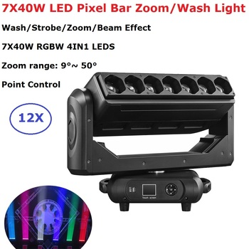7X40W LED Zoom Moving Head Light RGBW 4IN1 Wash Beam Effect Stage Light DMX 512 Controller Beam Party Light For Dj Wedding Disco