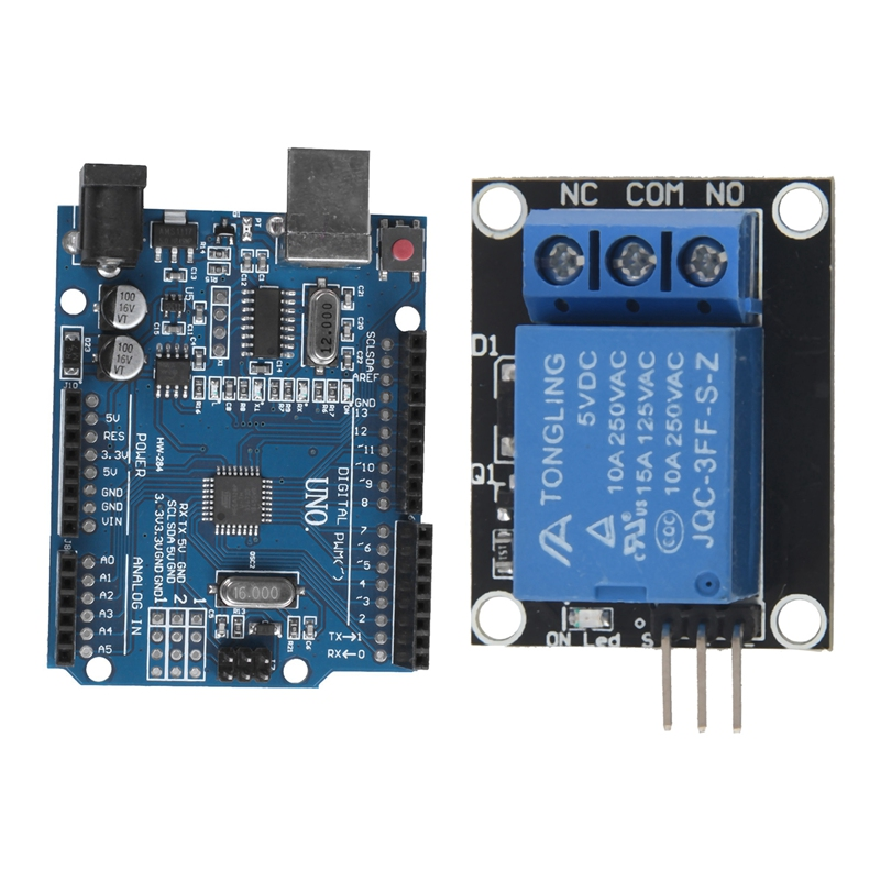 2 Set Module For Arduino: 1 Set For UNO R3 ATmega328P CH340 USB Board DIY & 1 Set Blue And Black Metal 1-Way Relay Module 5V Rel